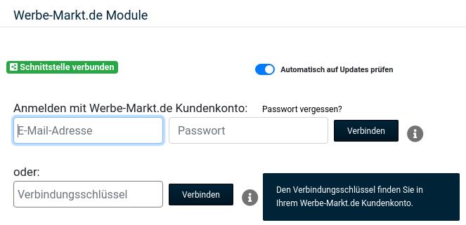 Anmelden mit Werbe-Markt.de Kundenkonto: E-Mail-Adresse Passwort oder: Verbindungsschlüssel Verbinden