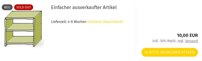 Neu, Sold-out: Einfacher ausverkaufter Artikel10,00 EUR inkl. 16% MwSt. zzgl. Versand, Bitte benachrichtigen