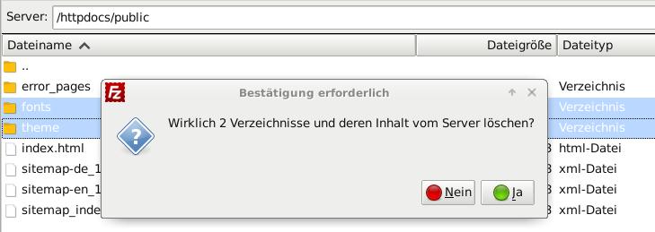 /httpdocs/public in FileZilla, fonts und theme Verzeichnis löschen