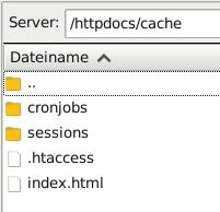 /httpdocs/cache mit Inhalt cronjobs, sessions, .htaccess, index.html