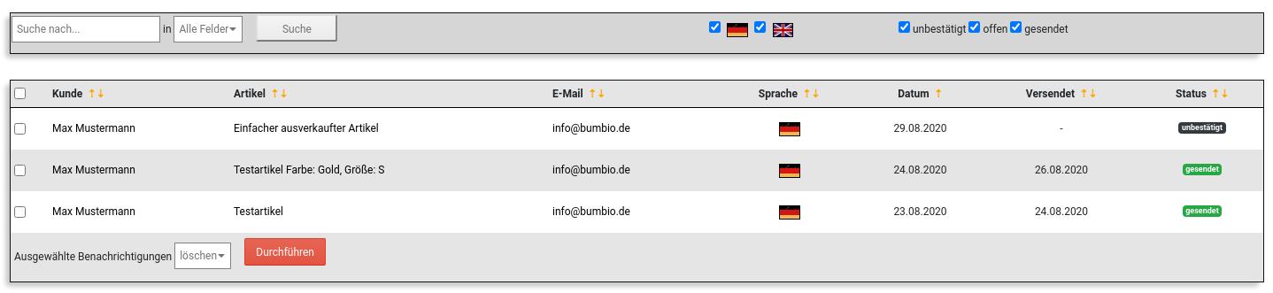 Tabelle mit Name, Artikel, E-Mail & weiteren Daten zu 3 Benachrichtigungen