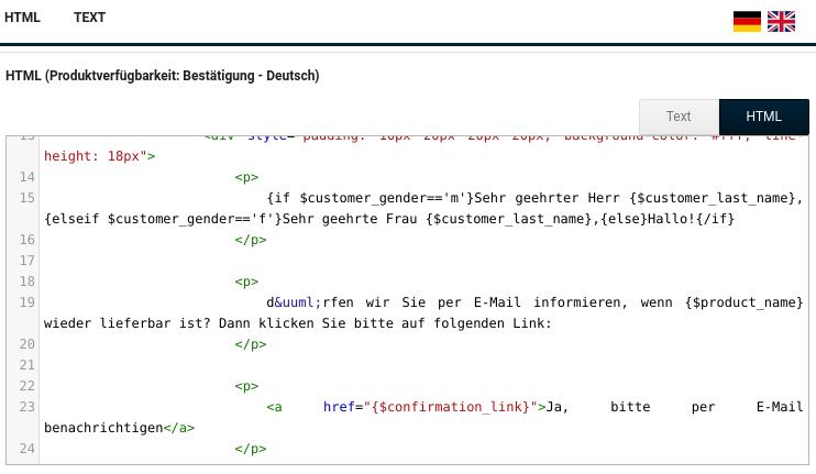 Editor zur Angabe des E-Mail-Texts für die HTML (Produktverfügbarkeit: Bestätigung - Deutsch)