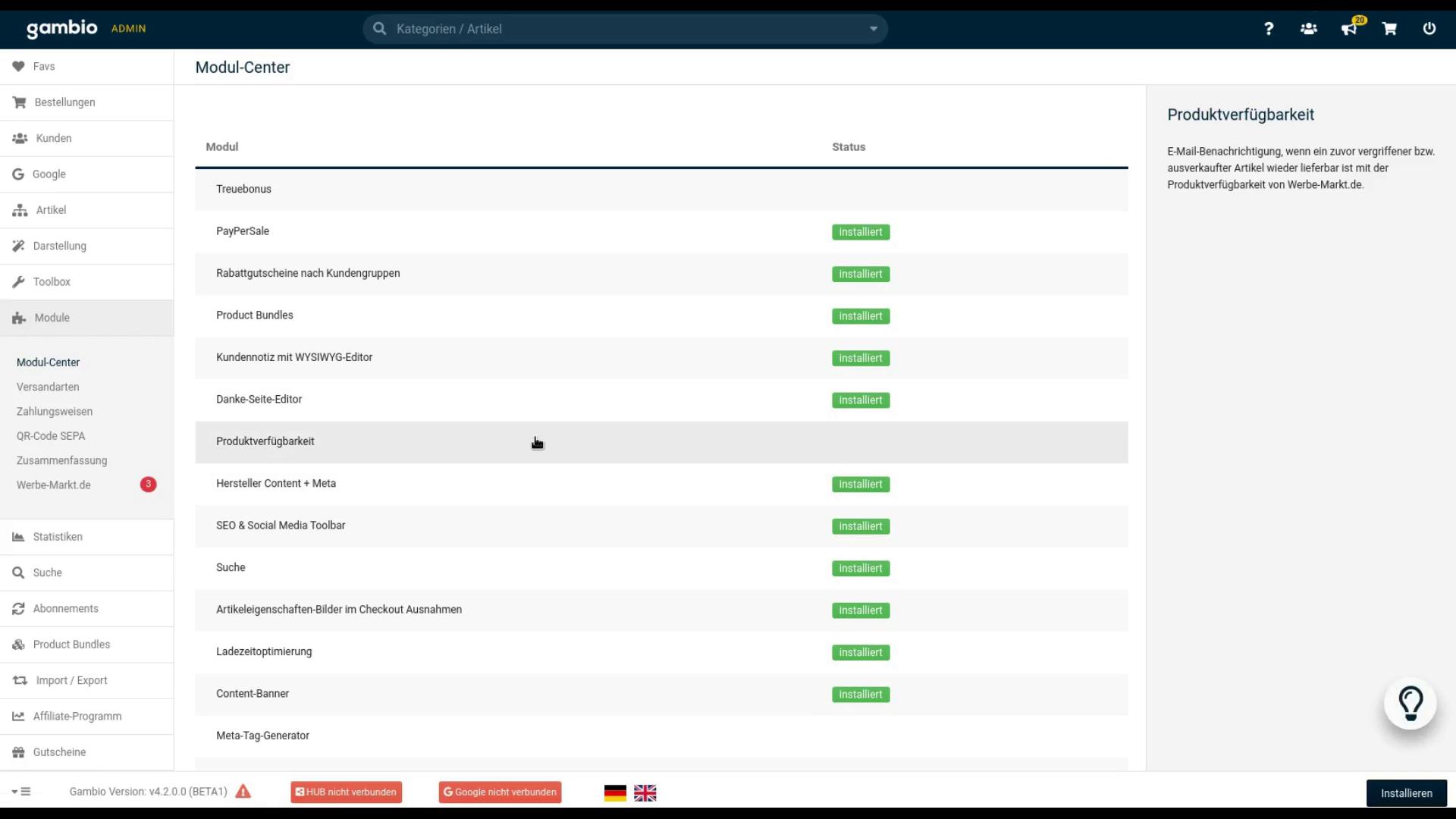 Screenshot Gambio Modul-Center mit Eintrag Produktverfügbarkeit und Installieren-Button
