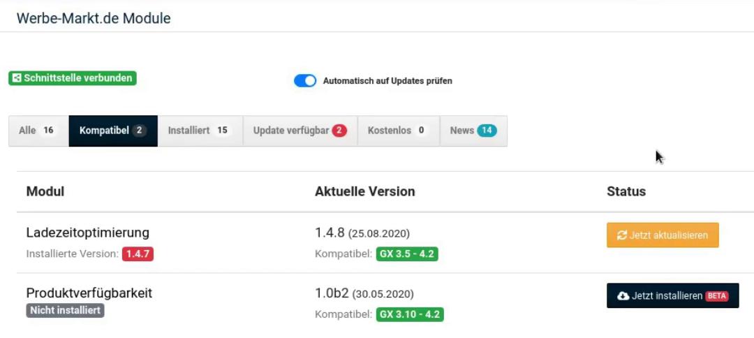 """Werbe-Mark.de Module - Produktverfügbarkeit """"Jetzt installieren""""-Button"""