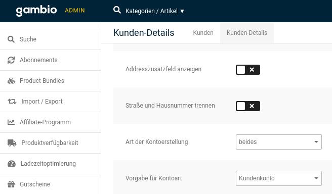 Kunden-Details, Straße und Hausnummer trennen: deaktiviertes Kontrollkästchen
