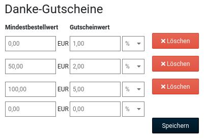Danke-Gutscheine Mindestbestellwert Gutscheinwert 0,00 EUR 1,00 % 50,00 EUR 2,00 % 100,00 EUR 5,00 %