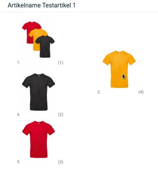 4 Bilder von T-Shirts, 3 davon untereinander, eines nach rechts versetzt mit Mauszeiger darauf