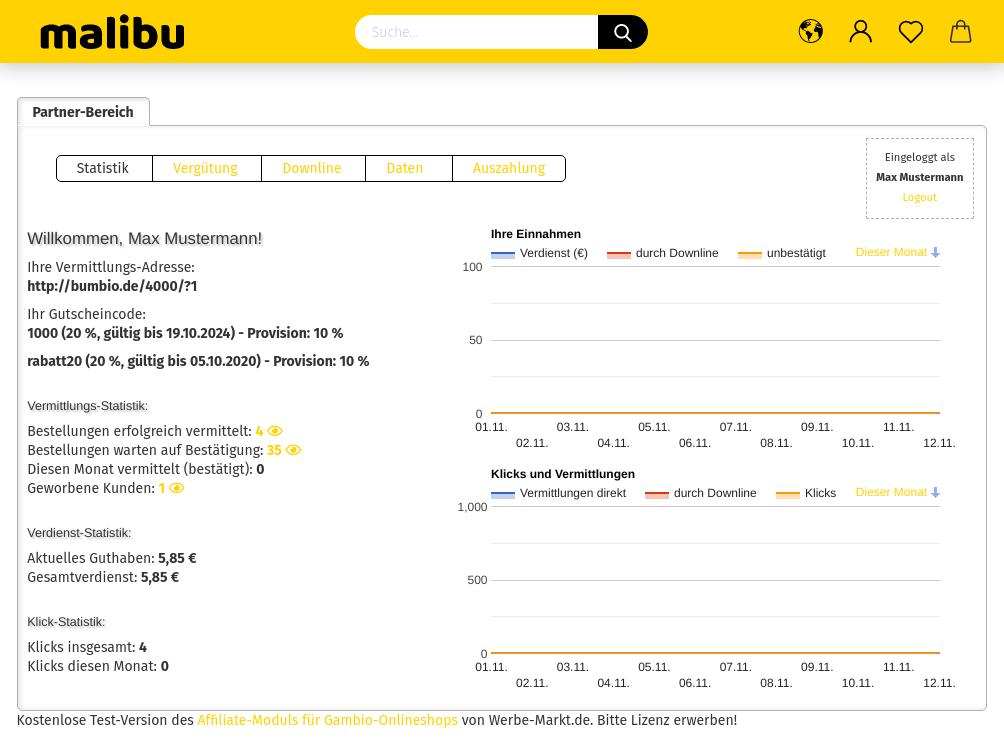Screenshot Partnerbereich mit Hinweis am unteren Rand: Kostenlose Test-Version des Affiliate-Moduls für Gambio-Onlineshops von Werbe-Markt.de. Bitte Lizenz erwerben!