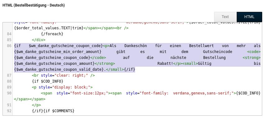 Editorfenster HTML (Bestellbestätigung - Deutsch)
