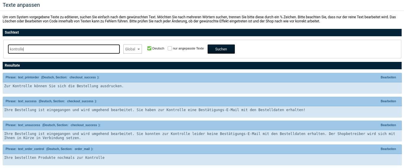 """Texte anpassen: Suchtext """"Kontrolle"""""""