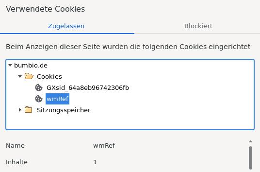 Verwendete Cookies: wmRef 1