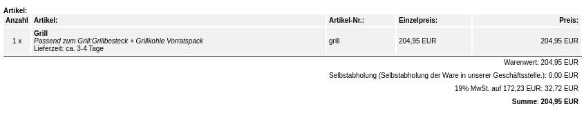 1 x Grill Passend zum Grill:Grillbesteck + Grillkohle Vorratspack 204,95 EUR