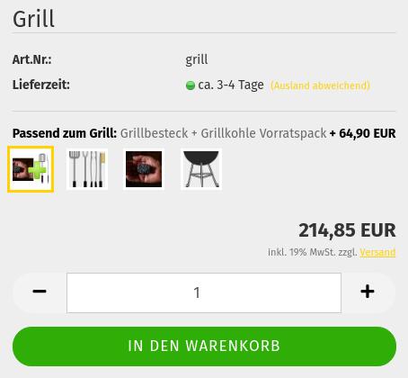 Grill + Passend zum Grill:Grillbesteck + Grillkohle Vorratspack+ 64,90 EUR = 214,85 EUR