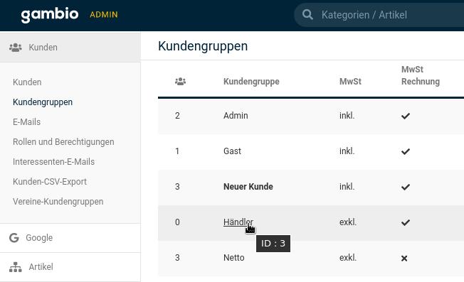 """Gambio Admin Kundengruppen: Mauszeiger auf Händler zeigt """"ID: 3"""""""