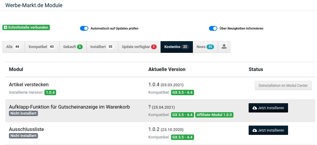 Werbe-Markt.de Module: Aufklapp-Funktion für Gutscheinanzeige im Warenkorb mit Installieren-Button