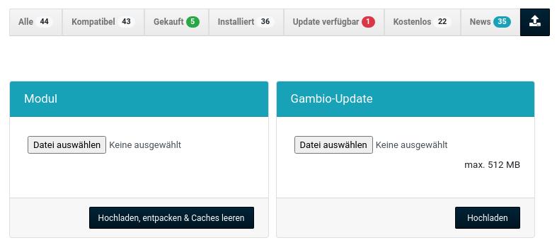 """Upload-Formulare für """"Modul"""" und """"Gambio-Update"""""""