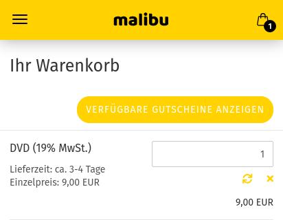 """Ihr Warenkorb, Button mit Titel """"Verfügbare Gutscheine anzeigen"""""""