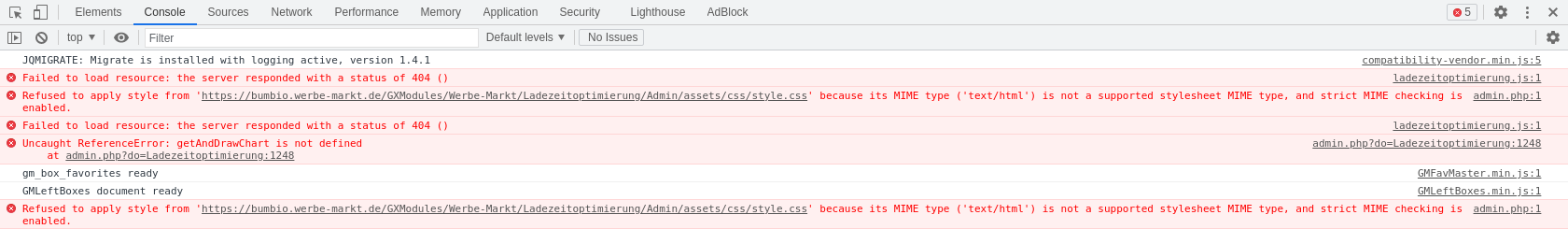 404er Fehler in der Chrome Entwickler-Konsole