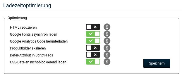 HTML reduzieren: nein, Google Fonts asynchron laden: ja, Google Analytics Code herunterladen: ja, Produktbilder skalieren: nein, Defer-Attribut in Script-Tags: nein, CSS-Dateien nicht-blockierend laden: ja