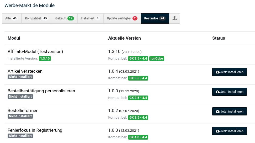 Gambio-Modulverwaltung mit einigen nicht installierten Plugins