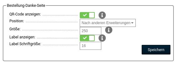 Bestellung-Danke-Seite, QR-Code anzeigen: ja, Position: Nach anderen Erweiterungen, Größe: 250, Label anzeigen: ja, Label Schriftgröße: 16