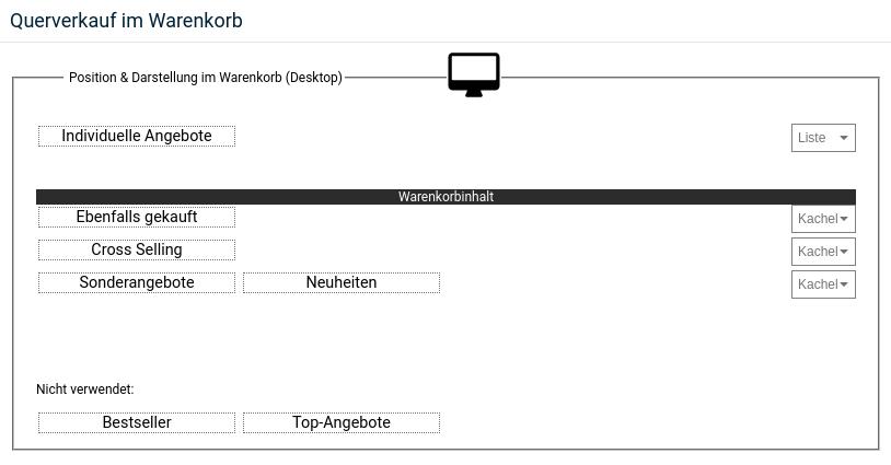 Querverkauf im Warenkorb Position & Darstellung im Warenkorb (Desktop)