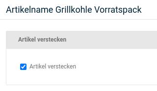 Artikelname Grillkohle Vorratspack: Artikel verstecken