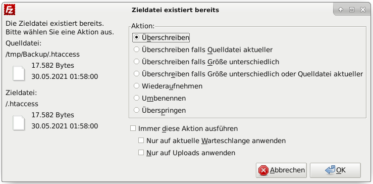 .htaccess-Update in FileZilla: Zieldatei existiert bereits