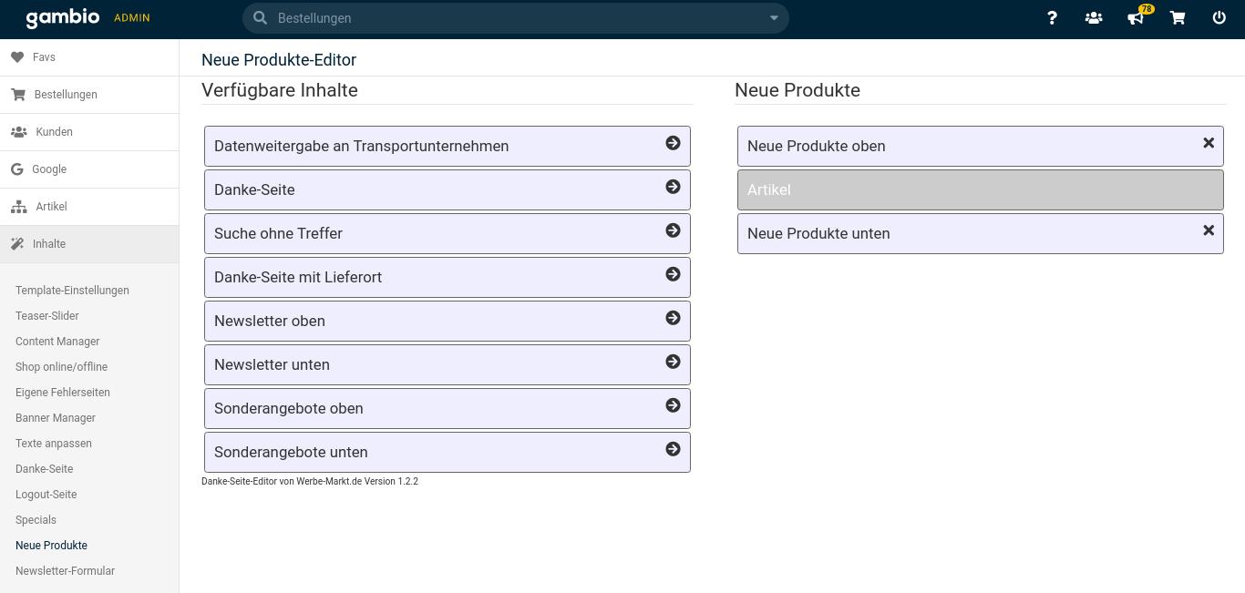 Neue Produkte-Editor: Verfügbare Inhalte Auflistung link, Neue Produkte mit 2 Inhalten rechts