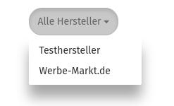Auswahlfeld Alle Hersteller, Testhersteller, Werbe-Markt.de