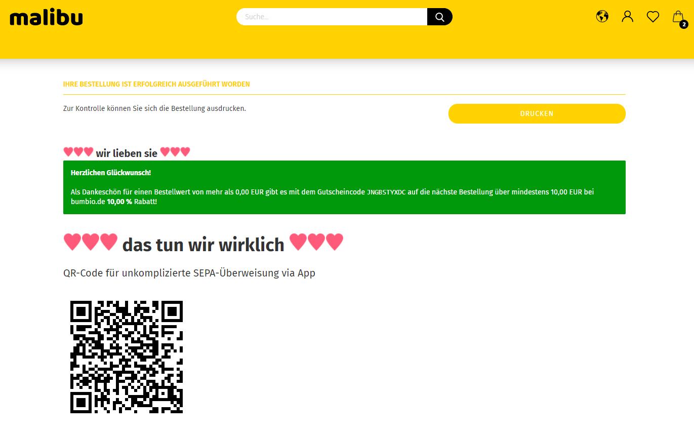 Gambio Shop Danke Seite mit individueller Kundenansprache
