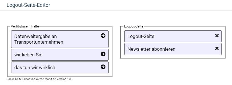 Auswahl der verfügbaren Inhalte links für die Logout Seite rechts