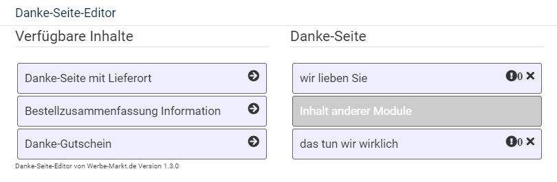 Auswahl der verfügbaren Inhalte links für die Danke Seite rechts