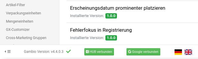 Gambio Version: v4.4.0.3, HUB verbunden, Google verbunden
